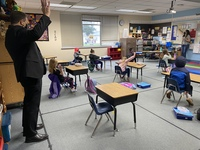 Superintendent Mark Ross visits 2nd grade teacher Katherine Simko�s class at Maple Grove Primary School. Battle Ground�s K-4 students started hybrid learning this week, with students in grades 5-8 slated to return Feb. 22.