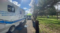 Mobile public health lab and tent for COVID-19 testing at The Cut