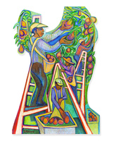 �Pear Harvest,� 2012, Acrylic on plywood, 63 x 48 inches. Photo Robert Jaffe.