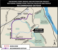 Map of Boones Ferry detour at Tryon Creek