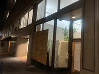 Storefronts boarded up this evening along 400 block of SW 10th Ave. in Downtown Portland