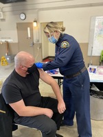 Fire Chief Fred Charlton receiving first dose of vaccine